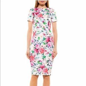 ALEXIA ADMOR Scuba Midi Sheath Dress Romantic Rose
